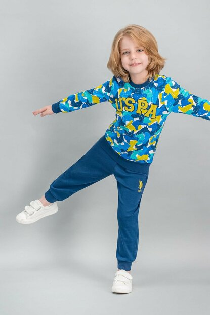 US Polo Assn Licensed Cream Boy Pajamas Set US-518-C-V1
