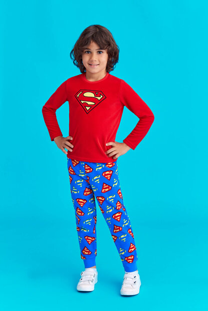 Superman Licensed Boys Fleece Pajamas Set Red 3-8 Age 11473
