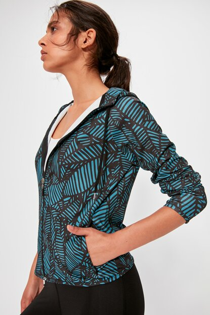 Patterned Hooded Fitted Sports Jacket TWOAW20CE0276