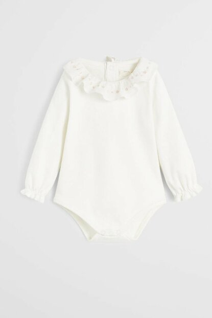 Off White Unisex Baby Frilly And Embroidered Cotton Baby Body & Layette 57065920