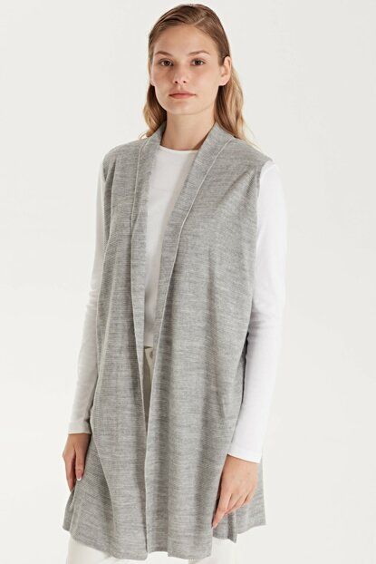 Women's Light Gray Melange Vest 9W8058Z8