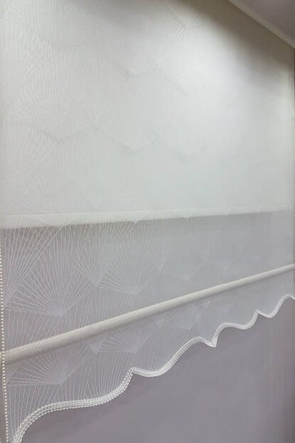 100X200 Double Mechanism Tulle Curtain and Roller Blinds MT1095 8605480903410