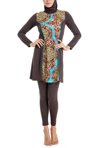 Women's Coffee Long Sleeve Tights Dress Swimwear B0118Y0173