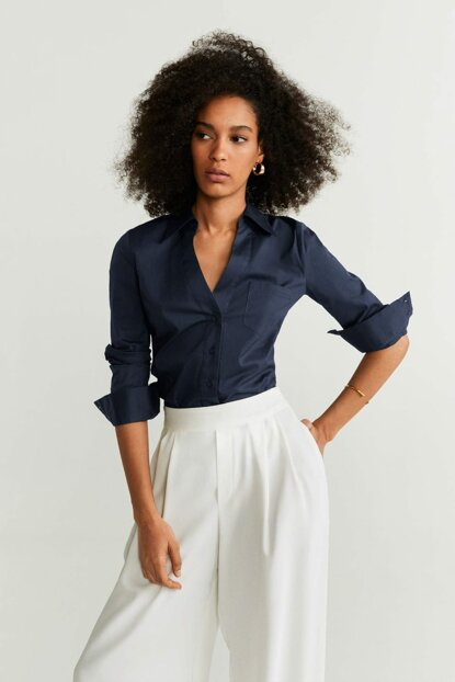 Women's Navy Blue Chest Pocket Shirt 51023030