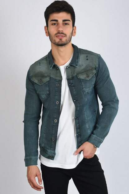 Khaki Cut Detail Double Pocket Blue Men's Denim Jacket 111387