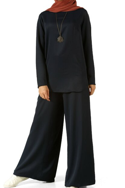 Women's Navy Blue Metal Necklace Trousers Team TK80136