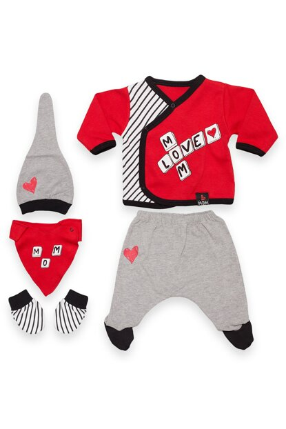Red Mom Love Printed Five-Piece Set Baby VIP08316