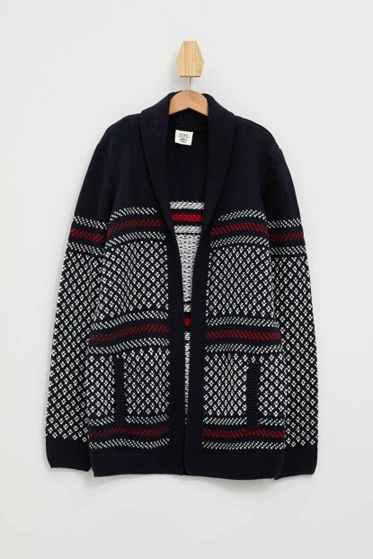 Indigo Blue Boy Patterned Sweater Cardigan L0477A6.19AU.IN75