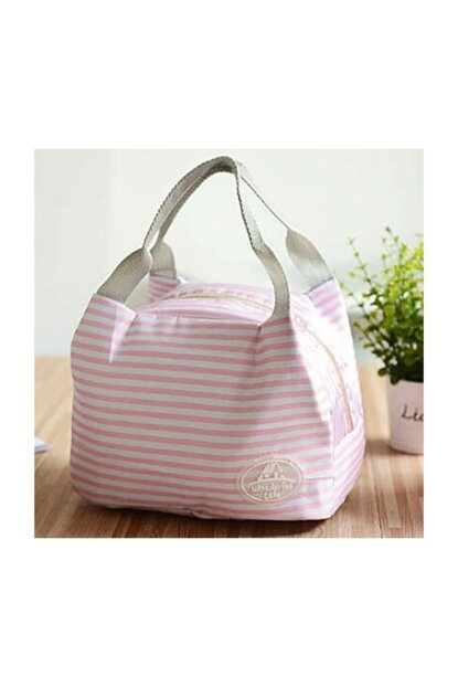 Pink Line Pattern Thermos Lunch Box çnt05