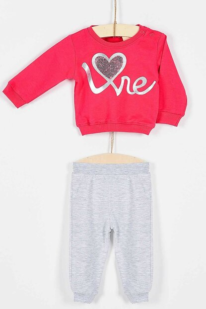 Buude Baby Girl Bottom Top Pajamas Suit Love Heart 6-18 Months 6817 B6817