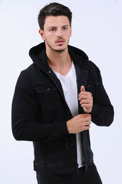 Sleeves Fleece Hooded Men Denim Jacket Black hak2010