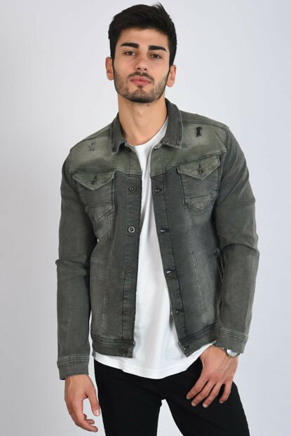 Cut Out Double Pocket Khaki Men's Denim Jacket 111387e