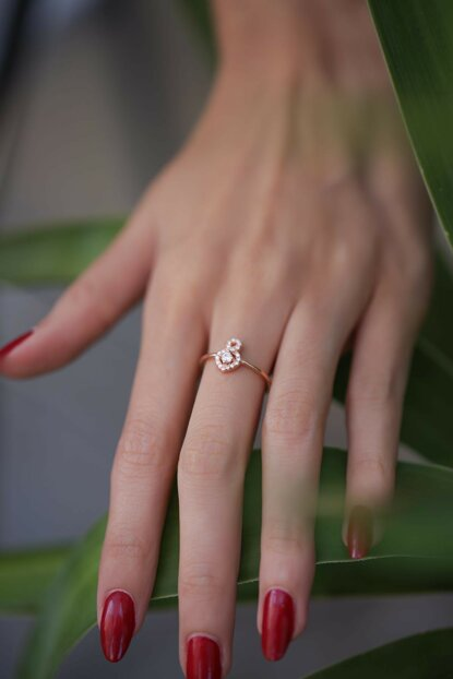 Women's Infinity Model Rose Plated Zircon Sterling Silver Ring PKT-İZLASLVR00677