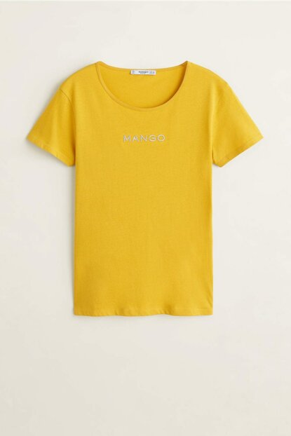 Women's Mustard Color Logo Embroidered T-Shirt 53030653
