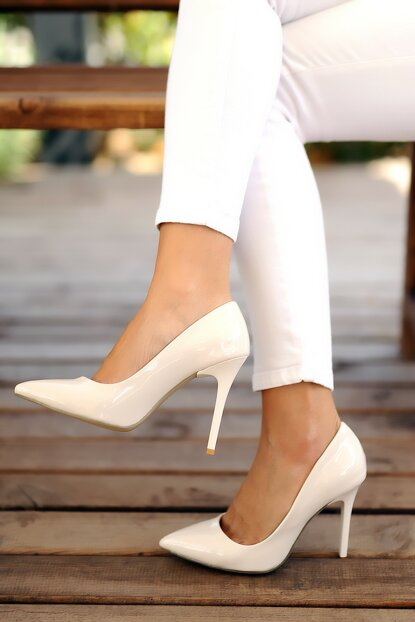 White Patent Leather Women Classic Heels Shoes A1770-17