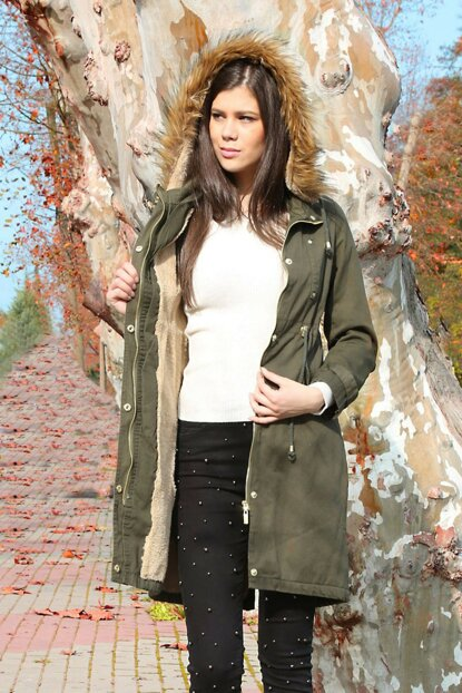 Women \ 's Khaki Fur Long Coat 9061BGD19_004