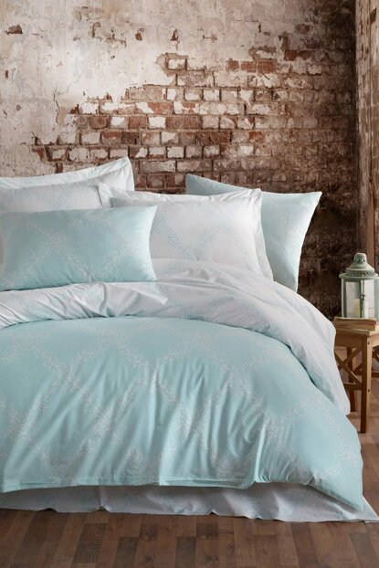 100% Natural Cotton Double Duvet Cover Set Nadine Mint Ep-019246