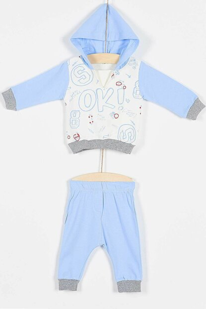 Buude Baby Boy Tracksuit Suit V-Neck Hooded 6-18 Months 6763 B6763