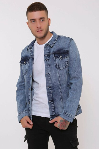 Snow Washed Blue Button Frayed Men's Denim Jacket d10994
