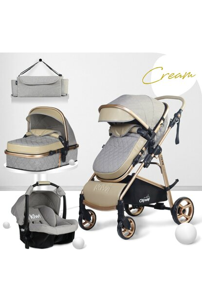 Kiwi City Way 5 in 1 Baby Stroller, Carry Seat, Care Bag, Raincoat-Stone-Cream KW-CTY-WY-5-N-1-TK