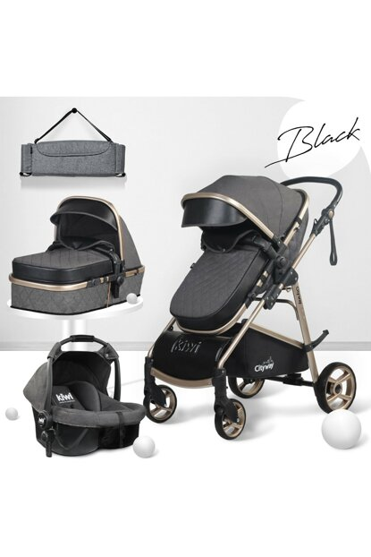 Kiwi City Way 5 in 1 Baby Stroller, Carry Seat, Care Bag, Raincoat - Black KW-CTY-WY-5-N-1-SY