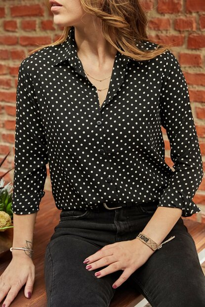 Women's Black Polka Dot Shirt 9YXK2-41777-02