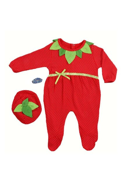 0-6 Months Baby Girl Strawberry Jumpsuit Set of 3 3001