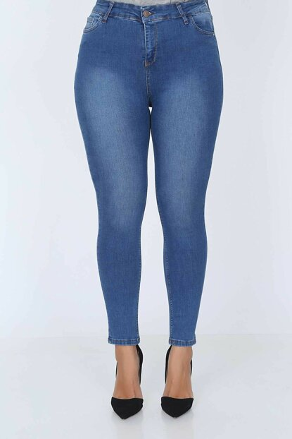 Women's Plus Size High Waist Lycra Denim Pants MYN598-07-10139