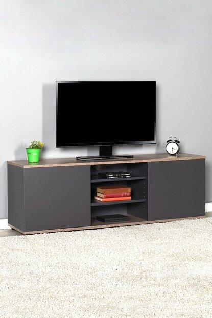 Flat Line Max Two Door Three Compartment Tv Table - Latte / Anthracite TVC-520-LA-1