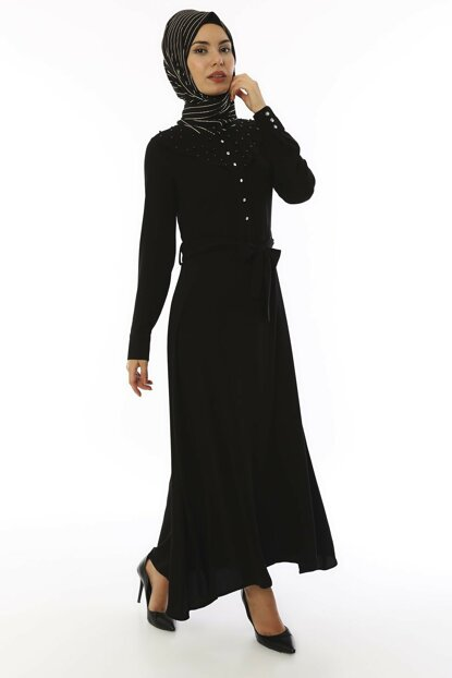 Women's Black Bead Detailed Crepe Dress 3495