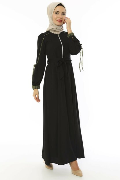 Women's Black Zippered and Ornamental Detail Mira Dress 3497