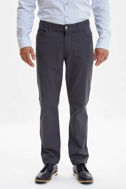 Men's Anthracite Regular Fit Chino Pants L2490AZ.19AU.AR86