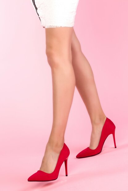 Red Suede Women's Classic Heeled Shoes 12789