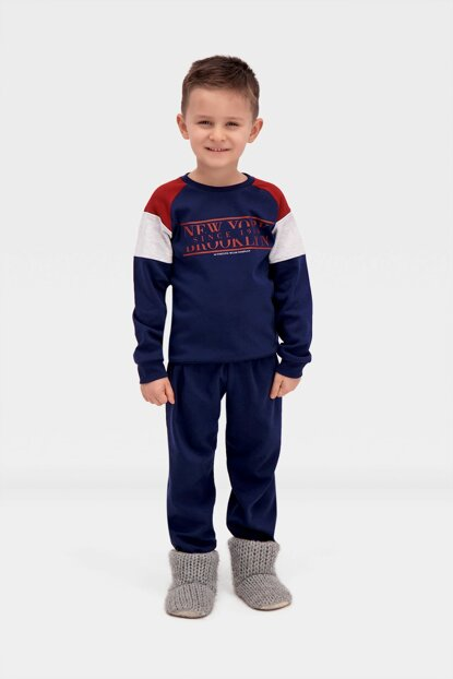 Newyork Broklyn Boys Pajamas Set Navy Blue 2-7 Y 12184