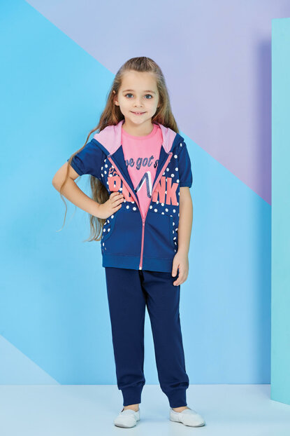 Rose Girls' Pajamas Set with Vest - 7849