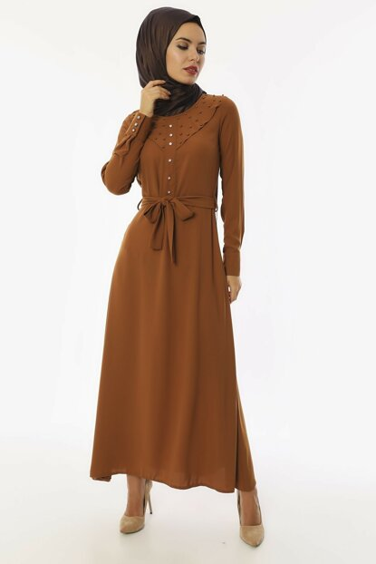 Women's Dark Mustard Detailed Crepe Dress 3495