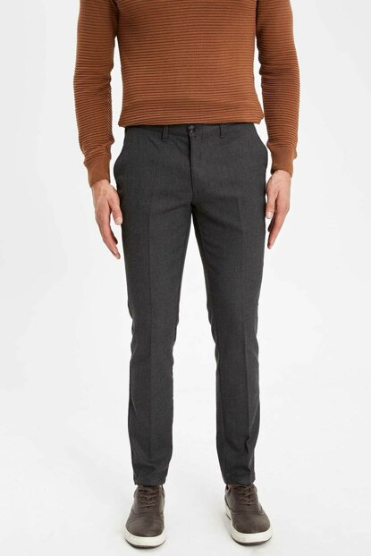 Men's Anthracite Bruno Slim Fit Chino Trousers K7525AZ.18CW.AR110