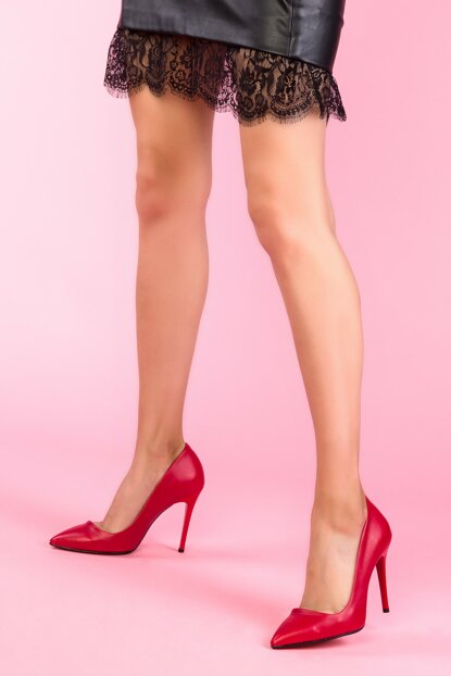 Red Women's Classic Heeled Shoes 12789