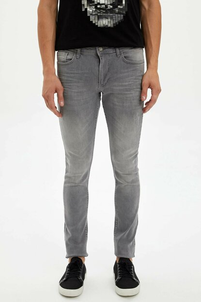 Men's Gray Carlo Skinny Fit Jean Trousers L6680AZ.19AU.NM18