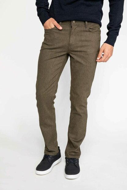 Men's Khaki Paco Fit Wool Trousers J1060AZ.18WN.KH64