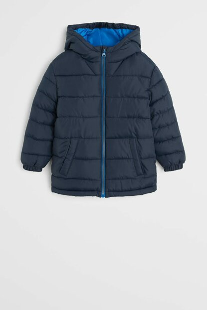 Navy Blue Boy Hooded Quilted Coat 53055009