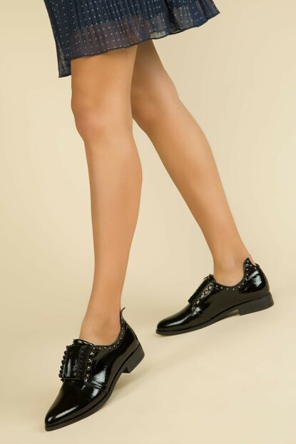 Black Patent Leather Women's Casual Shoes 13878