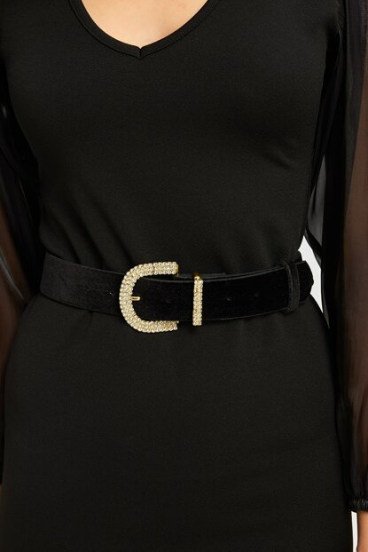 Women Black Velvet Trim Belt with Rhinestone 20K679113
