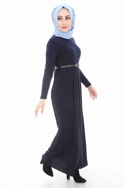 Women's Navy Blue Pleated Belt Sweater Dress 1583BGD19_009