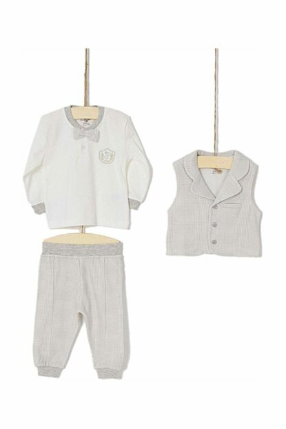 Ecru Gray Baby Boy Bottom Top Vest Set of 3 AZZ-003102