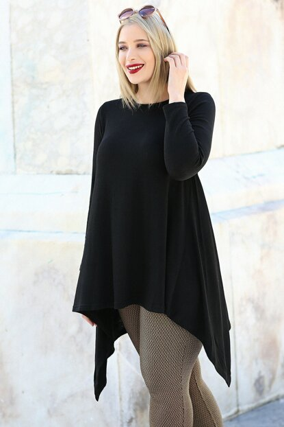 Women's Black Skirt Tunic Long Sleeve Tunic M9296