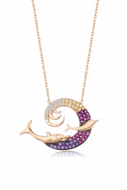 Women's Rose 925 Sterling Silver Dolphin Necklace MA_KL_1098