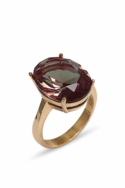 Women's Oval Rose Gold Plated Zultanite Zirkon Sterling Silver Ring 2020543