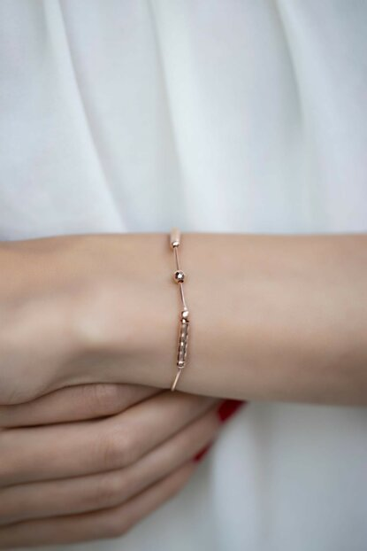 Women's Top & Stick Model Rose Plated Silver Italian Bangle İZLASLVR00316
