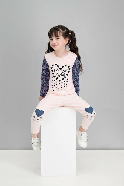 We Love Snow PinkMelange Girls' Pajamas Set RP1581-C-V2